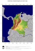 #5 Map Colombia: color-coded topography, shaded relief, country borders and capital