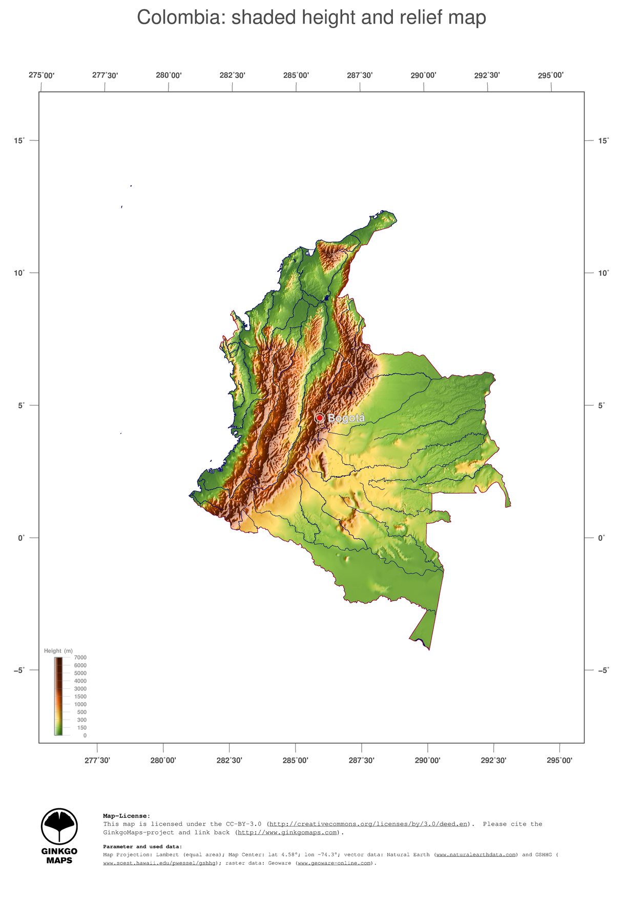 Map Colombia GinkgoMaps continent South America region Colombia