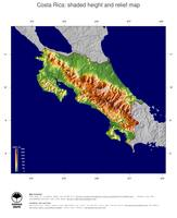 #5 Map Costa Rica: color-coded topography, shaded relief, country borders and capital