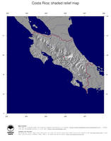 #4 Map Costa Rica: shaded relief, country borders and capital