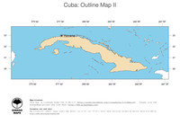 #2 Map Cuba: political country borders and capital (outline map)