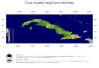 #5 Map Cuba: color-coded topography, shaded relief, country borders and capital