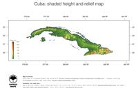 #3 Map Cuba: color-coded topography, shaded relief, country borders and capital