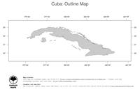 #1 Map Cuba: political country borders (outline map)