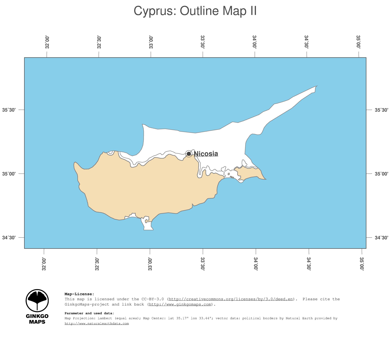 Map Cyprus GinkgoMaps Continent Asia Region Cyprus - Cyprus blank map