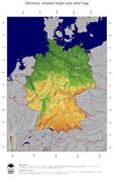 #5 Map Germany: color-coded topography, shaded relief, country borders and capital