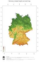 #3 Map Germany: color-coded topography, shaded relief, country borders and capital