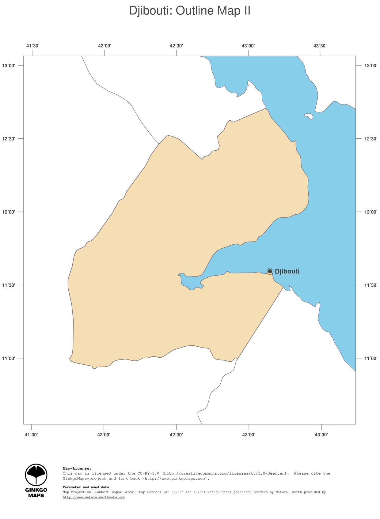 Map Djibouti; GinkgoMaps continent: Africa; region: Djibouti