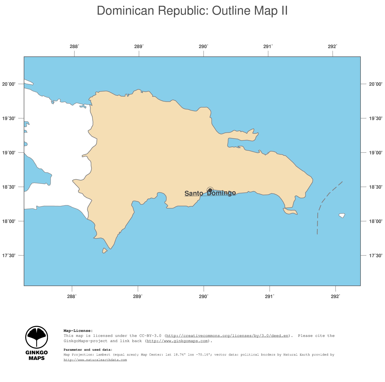 Map Dominican Republic GinkgoMaps continent South America