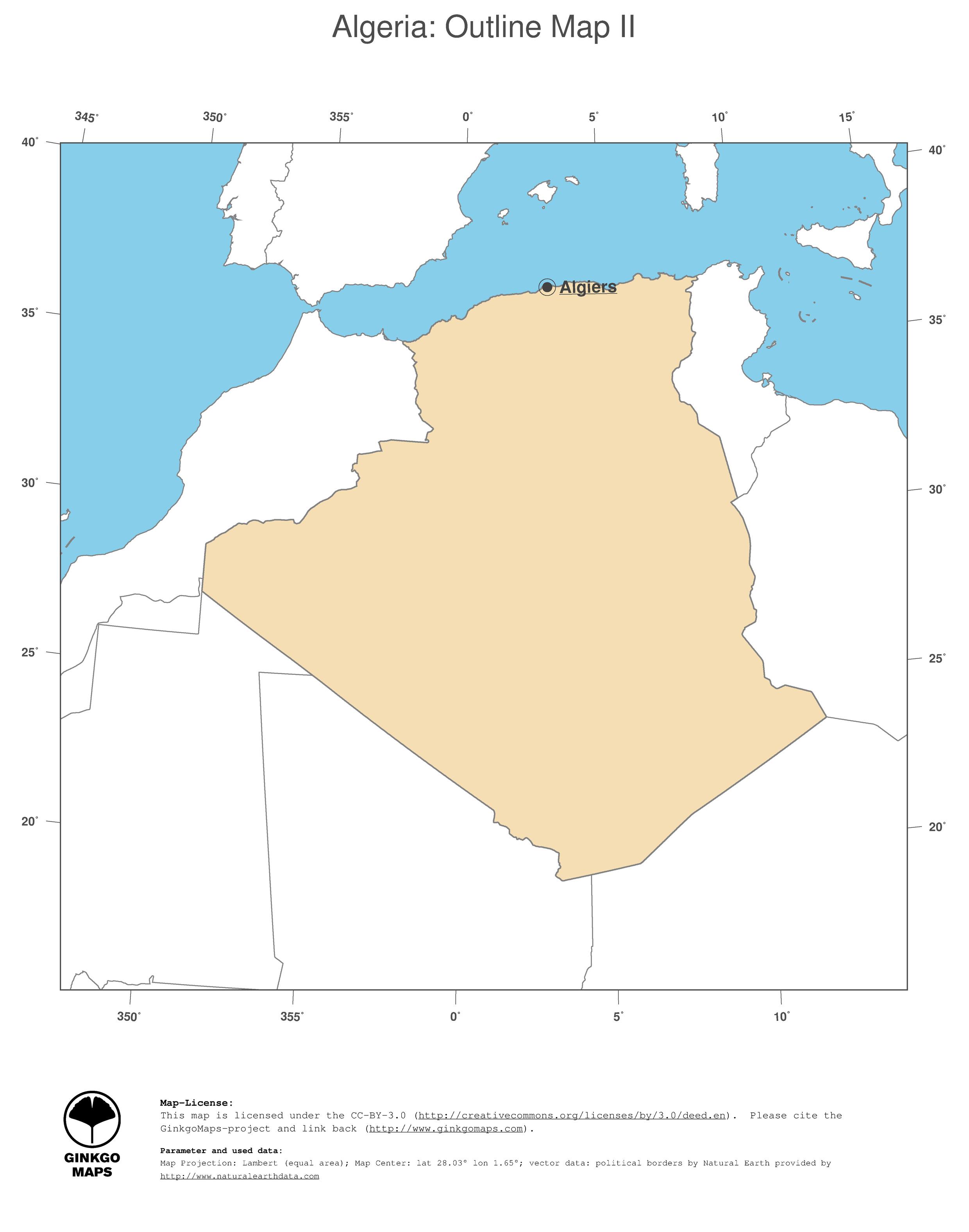 Map Algeria GinkgoMaps continent Africa region Algeria