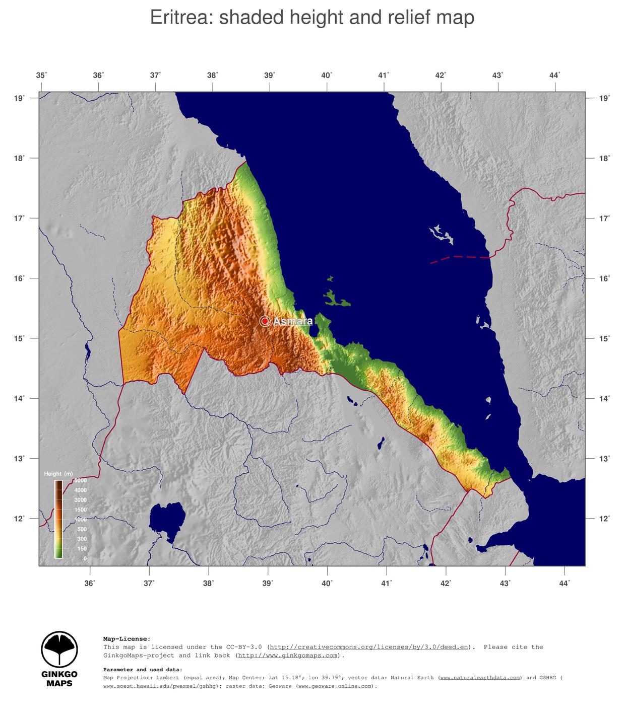 Map Eritrea GinkgoMaps continent Africa region Eritrea