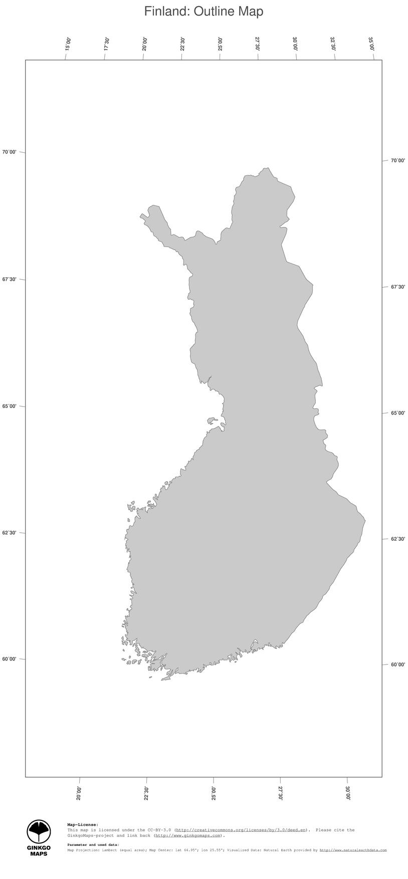 Map Finland; GinkgoMaps continent: Europe; region: Finland