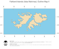 #2 Map Falkland Islands: political country borders and capital (outline map)