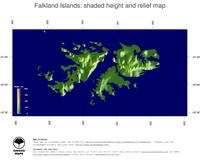 #5 Map Falkland Islands: color-coded topography, shaded relief, country borders and capital