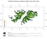 #3 Map Falkland Islands: color-coded topography, shaded relief, country borders and capital