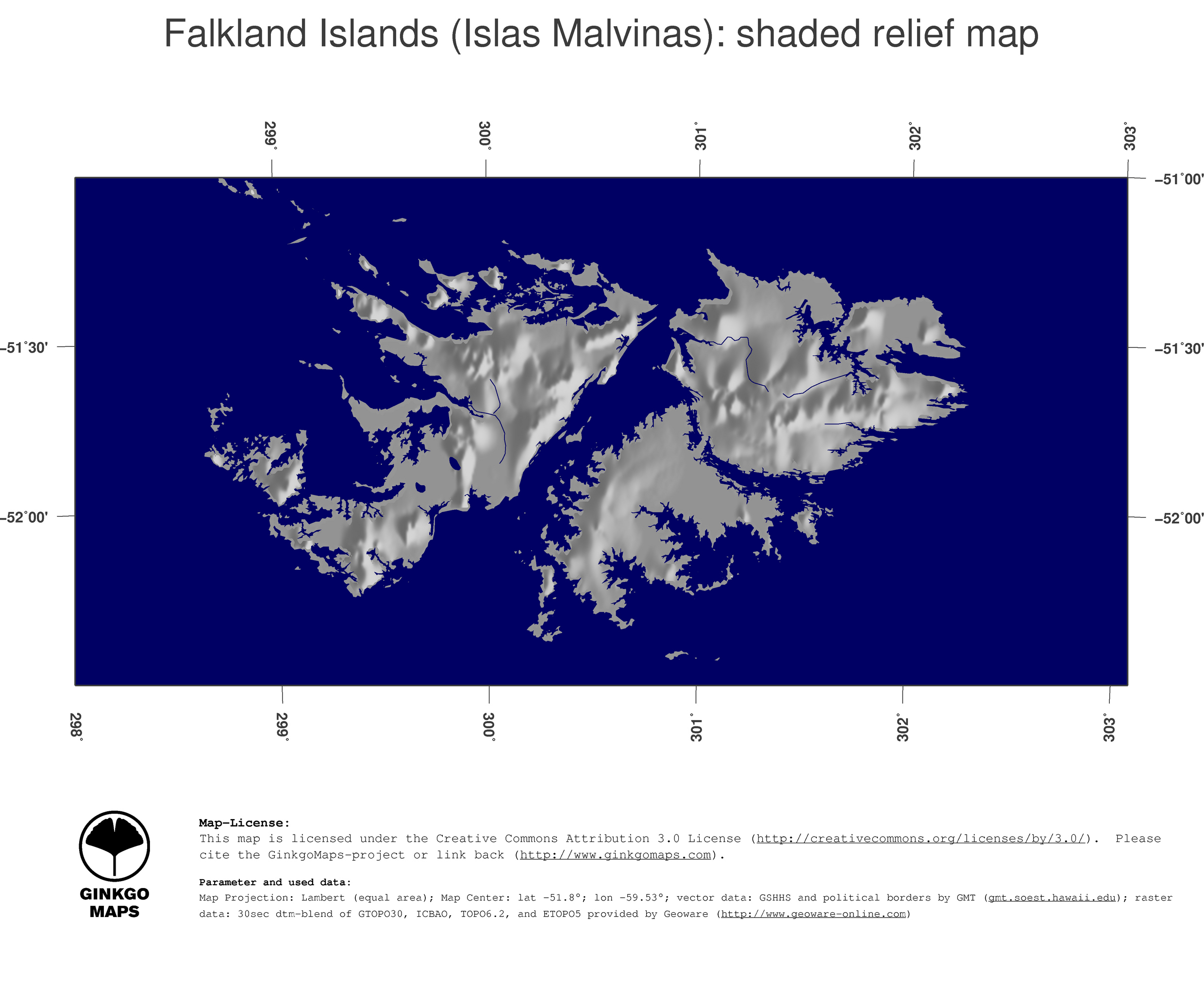 Map Falkland Islands Islas Malvinas GinkgoMaps continent South