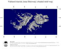#4 Map Falkland Islands: shaded relief, country borders and capital