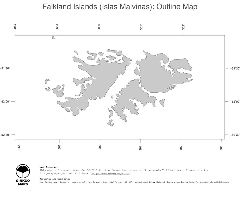 Map Falkland Islands Islas Malvinas GinkgoMaps Continent South - Falkland islands map