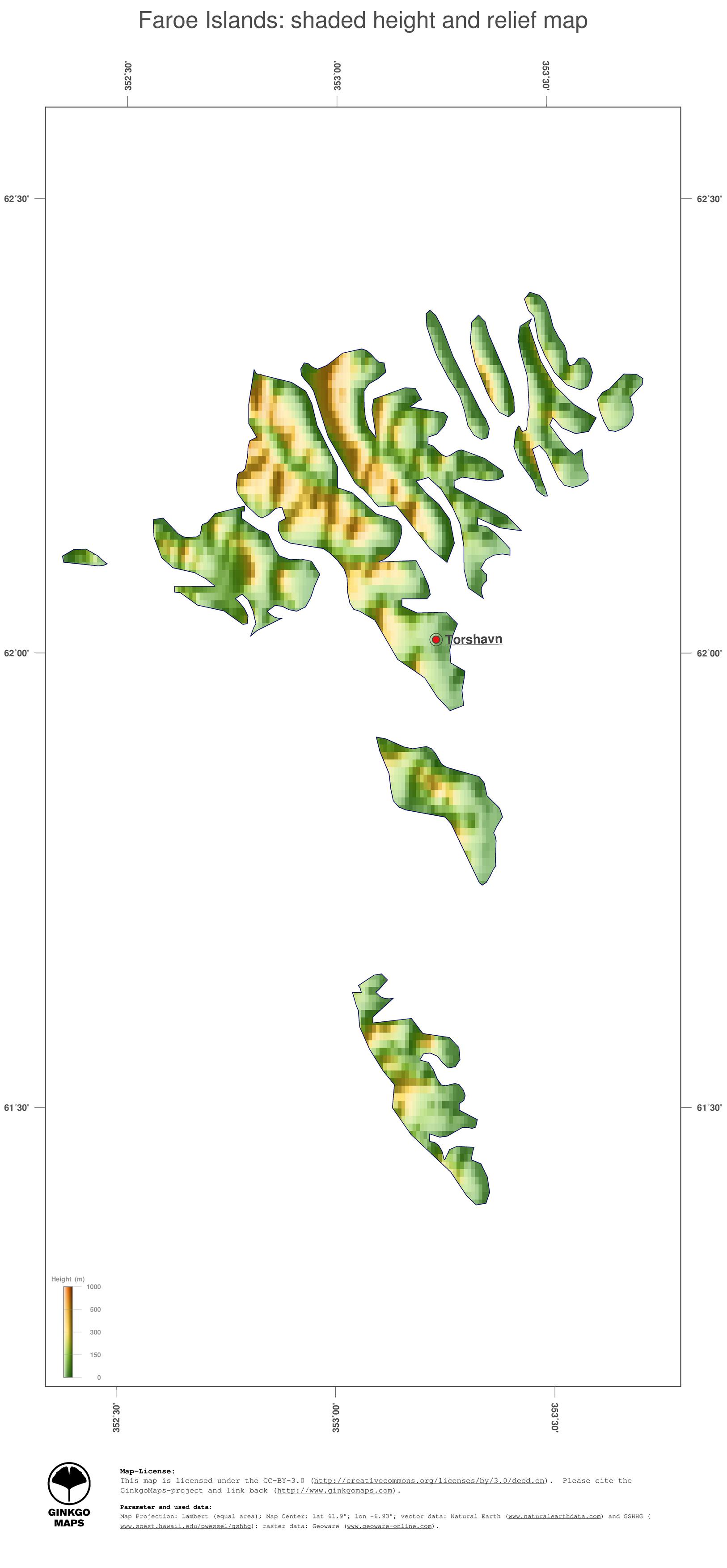 Map Faroe Islands; GinkgoMaps continent: Europe; region: Faroe Islands