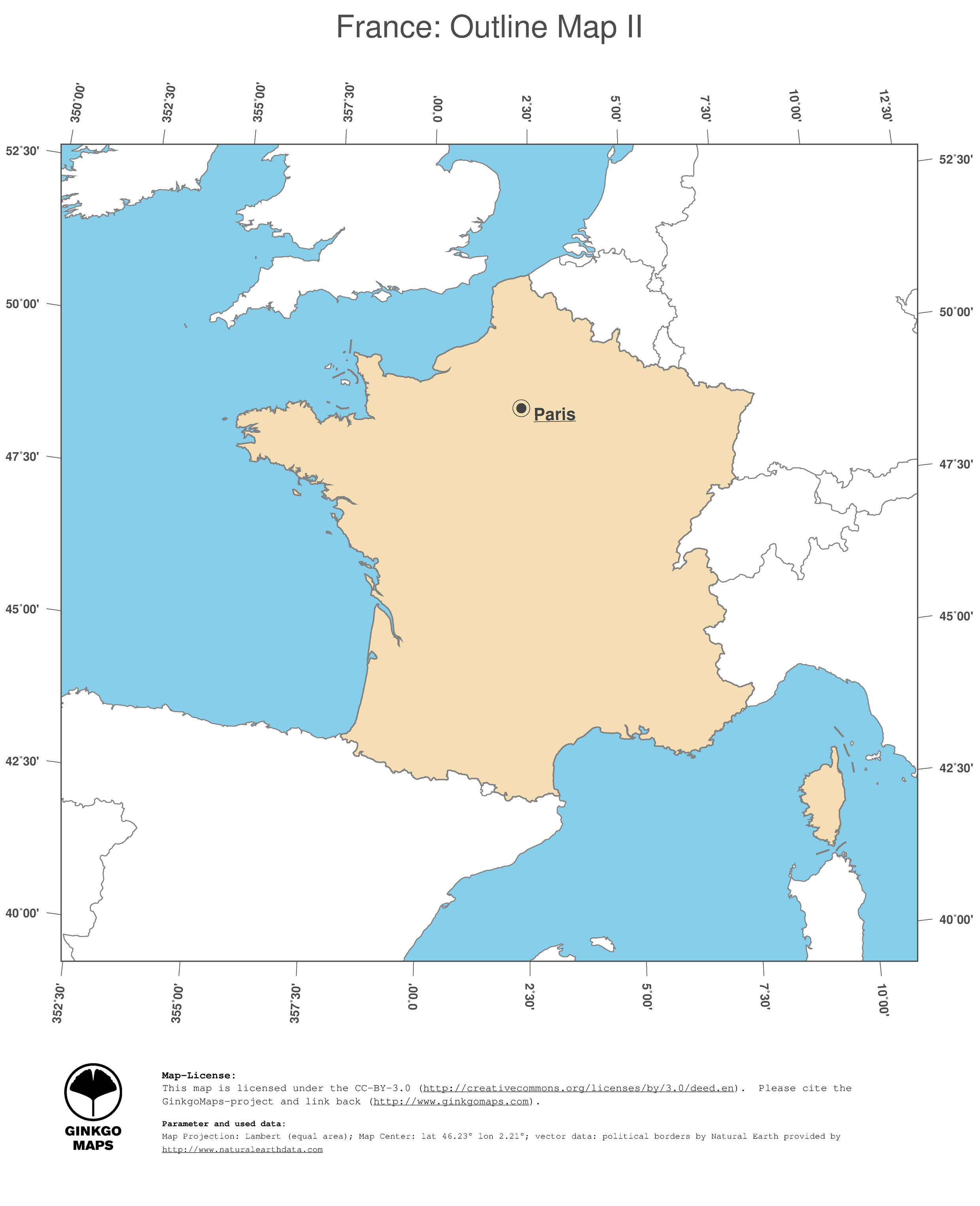 Outline Of Map Of France.Map France Ginkgomaps Continent Europe Region France