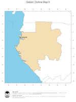 #2 Map Gabon: political country borders and capital (outline map)