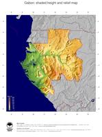 #5 Map Gabon: color-coded topography, shaded relief, country borders and capital