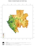 #3 Map Gabon: color-coded topography, shaded relief, country borders and capital