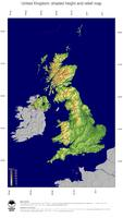 #4 Map United Kingdom: color-coded topography, shaded relief, country borders and capital
