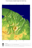 #2 Map French Guiana: color-coded topography, shaded relief, country borders and capital