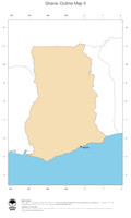 #2 Map Ghana: political country borders and capital (outline map)