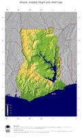 #5 Map Ghana: color-coded topography, shaded relief, country borders and capital