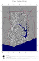 #4 Map Ghana: shaded relief, country borders and capital