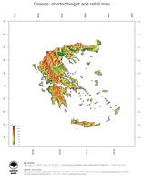 #3 Map Greece: color-coded topography, shaded relief, country borders and capital