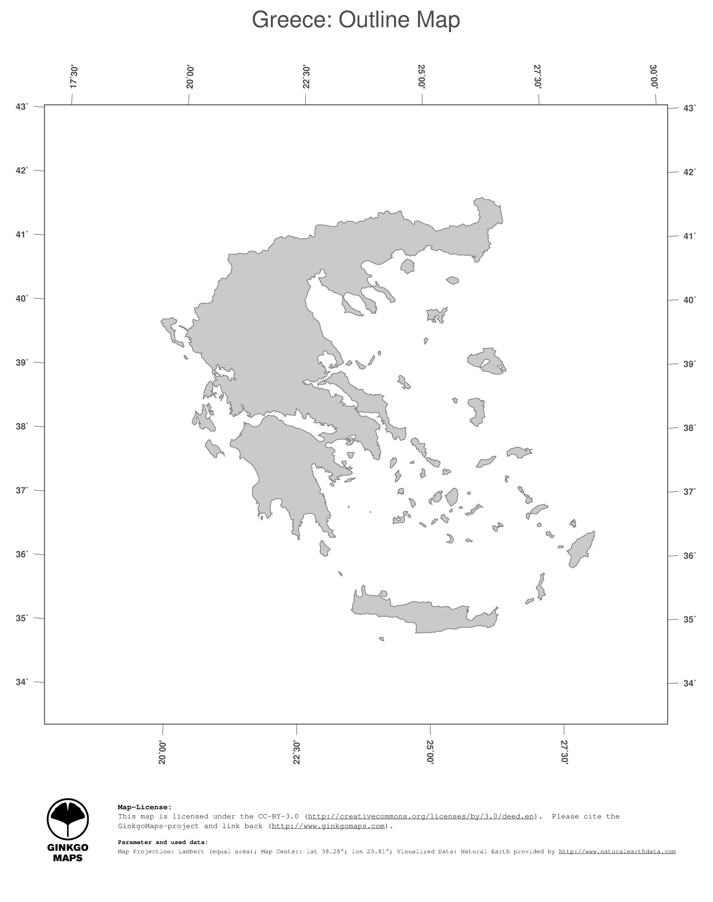 Map Greece Ginkgomaps Continent Europe Region Greece