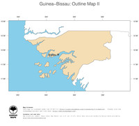 #2 Map Guinea-Bissau: political country borders and capital (outline map)