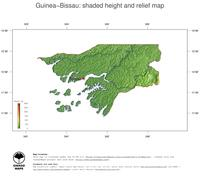 #3 Map Guinea-Bissau: color-coded topography, shaded relief, country borders and capital