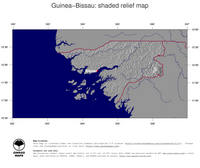 #4 Map Guinea-Bissau: shaded relief, country borders and capital