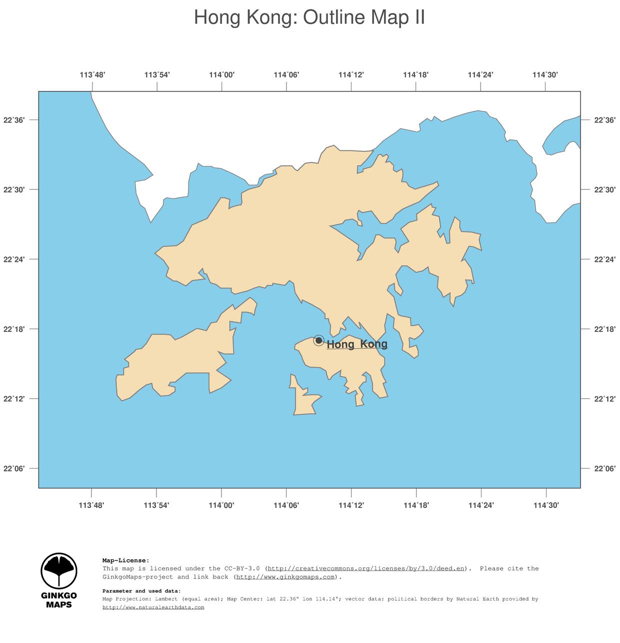 Map Hong Kong GinkgoMaps continent Asia region Hong Kong
