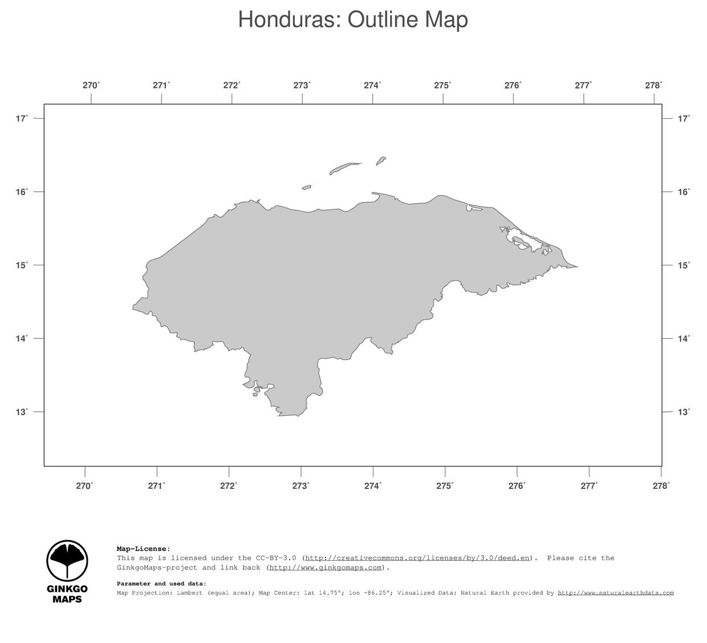 Map Honduras GinkgoMaps Continent South America Region Honduras - Honduras country political map