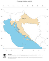 #2 Map Croatia: political country borders and capital (outline map)