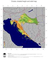 #5 Map Croatia: color-coded topography, shaded relief, country borders and capital