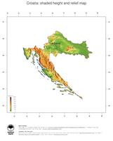 #3 Map Croatia: color-coded topography, shaded relief, country borders and capital