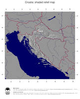 #4 Map Croatia: shaded relief, country borders and capital