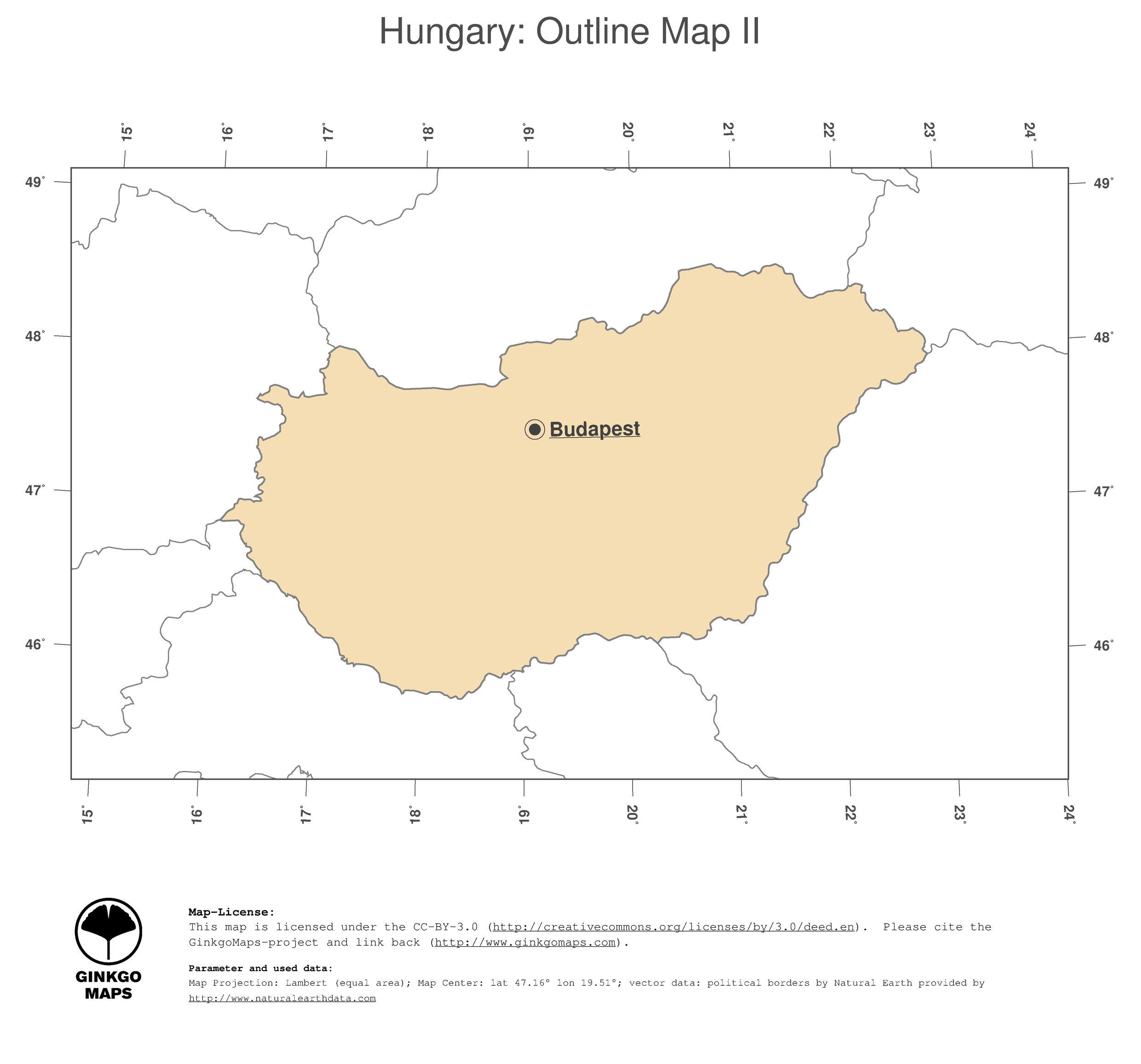 Map Hungary GinkgoMaps continent Europe region Hungary