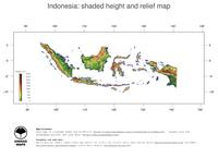 #3 Map Indonesia: color-coded topography, shaded relief, country borders and capital