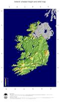 #5 Map Ireland: color-coded topography, shaded relief, country borders and capital