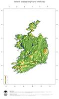 #3 Map Ireland: color-coded topography, shaded relief, country borders and capital