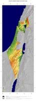 #5 Map Israel: color-coded topography, shaded relief, country borders and capital