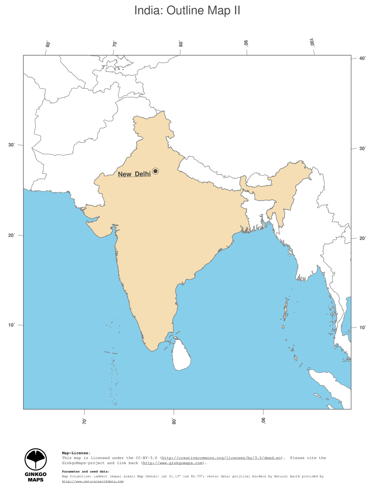Map india ginkgomaps continent asia region india 2 map india political country borders and capital outline map gumiabroncs Gallery