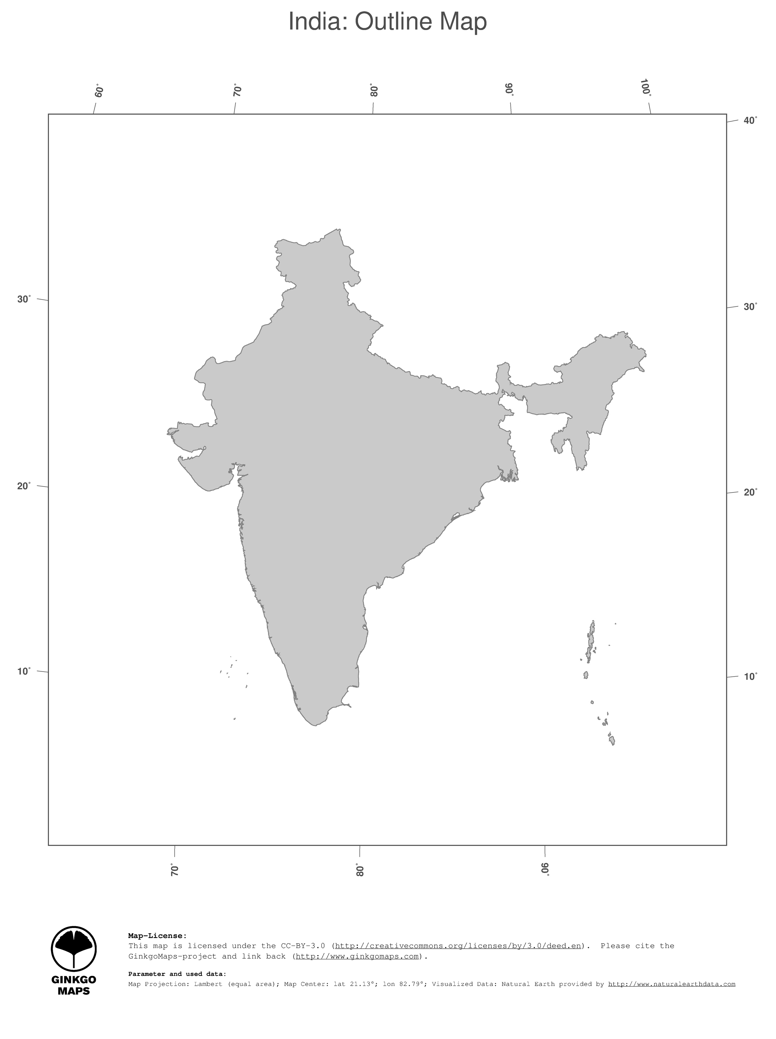 Map India; GinkgoMaps continent: Asia; region: India
